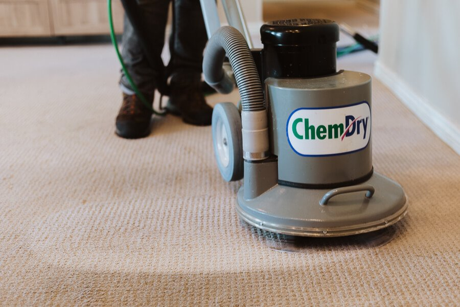 carpet cleaning powerhead showing before and after results